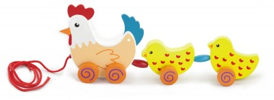 Poule et poulets jouet à tirer en bois bébé enfant 18m+