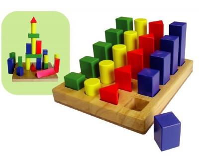 Jeu de construction trieur de forme figures géométriques en bois bébé enfant 2ans+