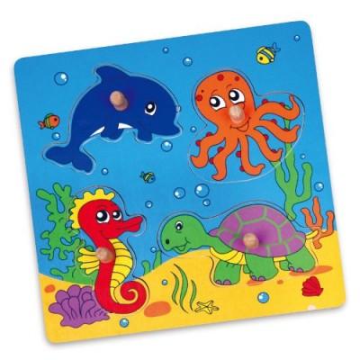 Puzzle Animaux de la Mer jeu éducatif en bois bébé enfant 1an+